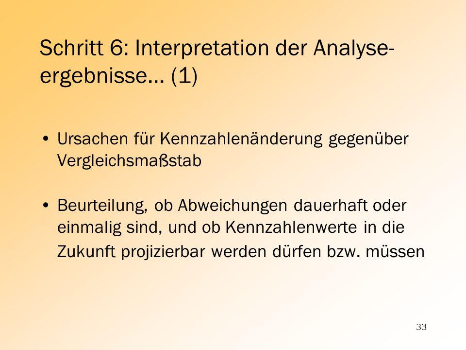 33 Schritt 6: Interpretation der Analyse- ergebnisse... (1) Ursachen für Kennzahlenänderung gegenüber Vergleichsmaßstab Beurteilung, ob Abweichungen d