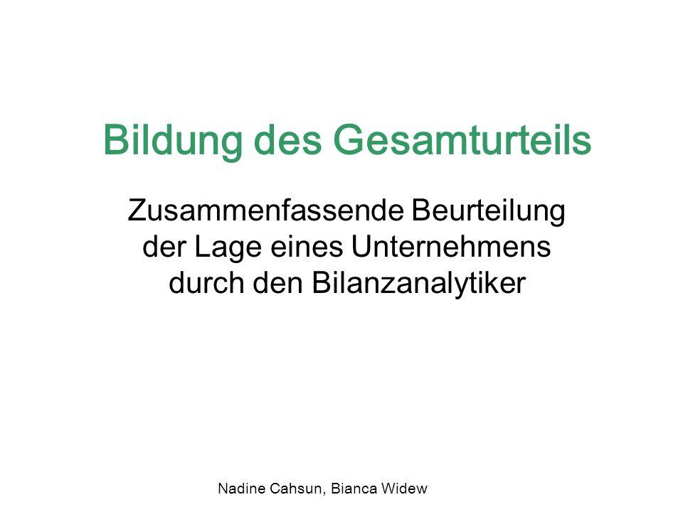 Bildung des Gesamturteils Zusammenfassende Beurteilung der Lage eines Unternehmens durch den Bilanzanalytiker Nadine Cahsun, Bianca Widew