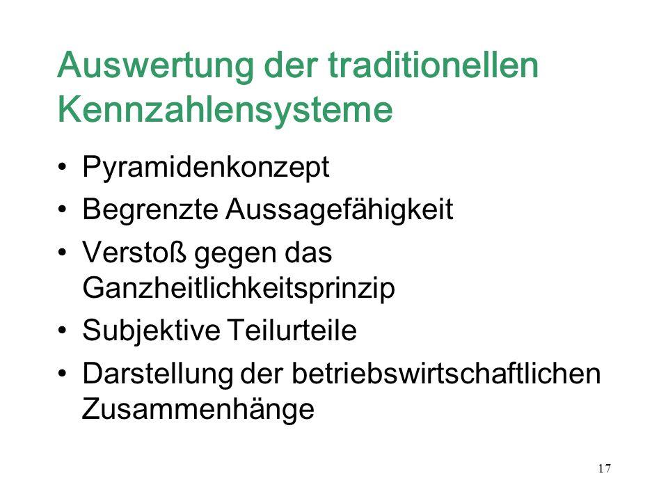 17 Auswertung der traditionellen Kennzahlensysteme Pyramidenkonzept Begrenzte Aussagefähigkeit Verstoß gegen das Ganzheitlichkeitsprinzip Subjektive T