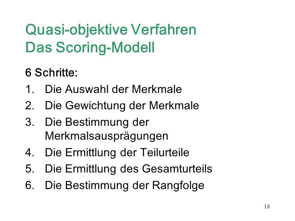 18 Quasi-objektive Verfahren Das Scoring-Modell 6 Schritte: 1.Die Auswahl der Merkmale 2.Die Gewichtung der Merkmale 3.Die Bestimmung der Merkmalsausp