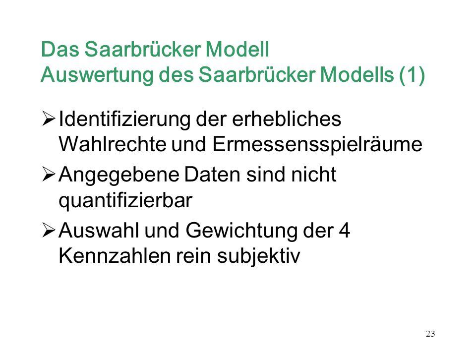 23 Das Saarbrücker Modell Auswertung des Saarbrücker Modells (1) Identifizierung der erhebliches Wahlrechte und Ermessensspielräume Angegebene Daten s