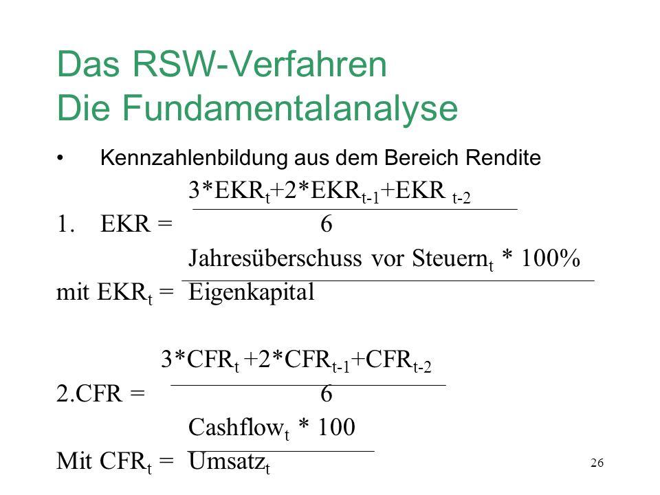 26 Das RSW-Verfahren Die Fundamentalanalyse Kennzahlenbildung aus dem Bereich Rendite 3*EKR t +2*EKR t-1 +EKR t-2 1.EKR =6 Jahresüberschuss vor Steuer