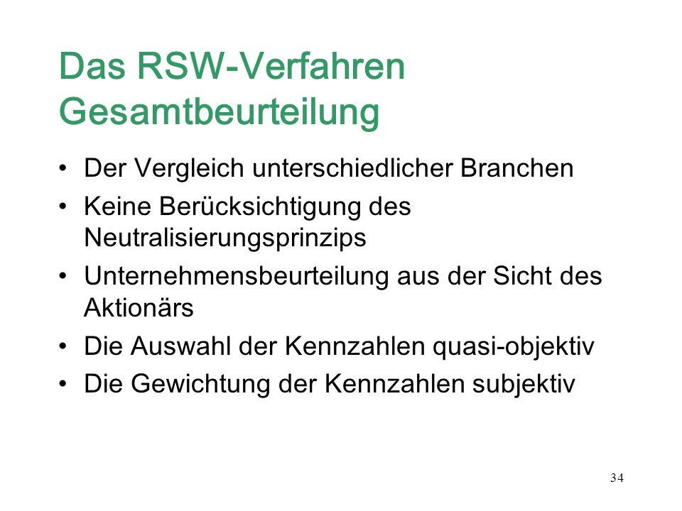 34 Das RSW-Verfahren Gesamtbeurteilung Der Vergleich unterschiedlicher Branchen Keine Berücksichtigung des Neutralisierungsprinzips Unternehmensbeurte