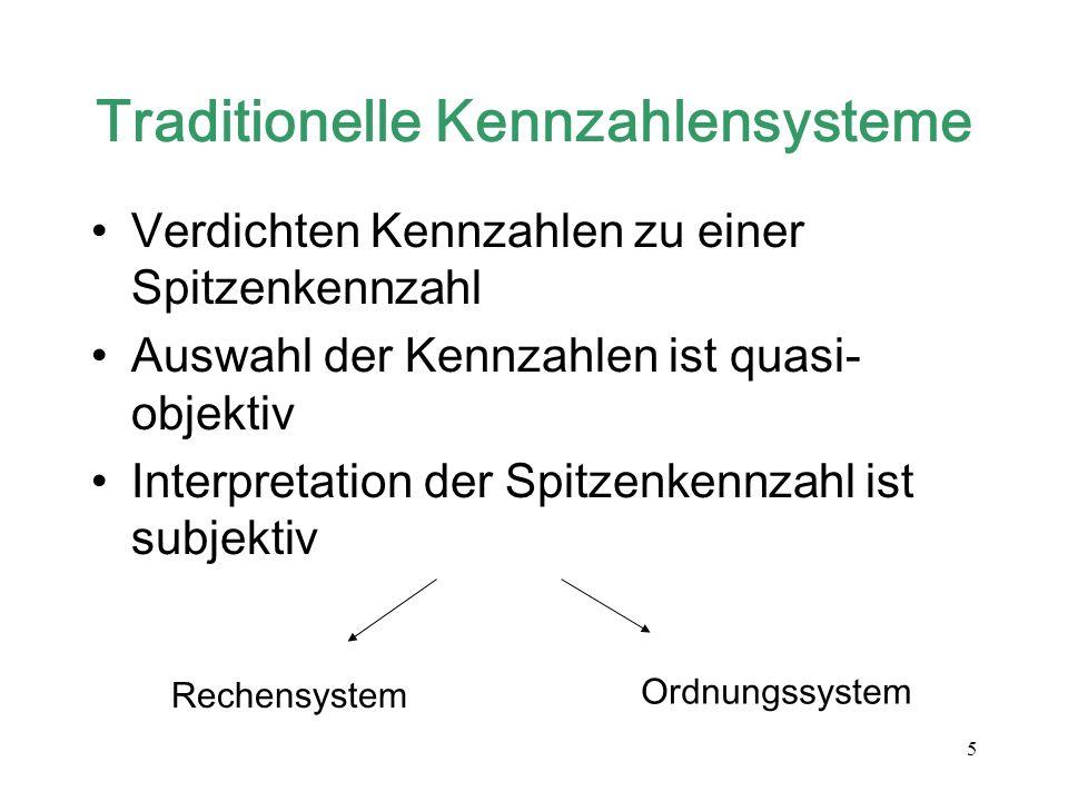 5 Traditionelle Kennzahlensysteme Verdichten Kennzahlen zu einer Spitzenkennzahl Auswahl der Kennzahlen ist quasi- objektiv Interpretation der Spitzen