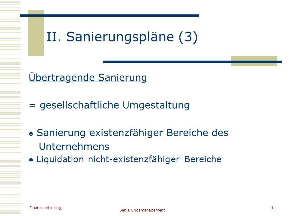 Finanzcontrolling Sanierungsmanagement 11 II. Sanierungspläne (3) Übertragende Sanierung = gesellschaftliche Umgestaltung Sanierung existenzfähiger Be