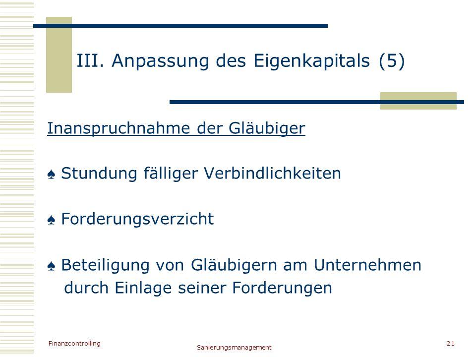 Finanzcontrolling Sanierungsmanagement 21 III. Anpassung des Eigenkapitals (5) Inanspruchnahme der Gläubiger Stundung fälliger Verbindlichkeiten Forde