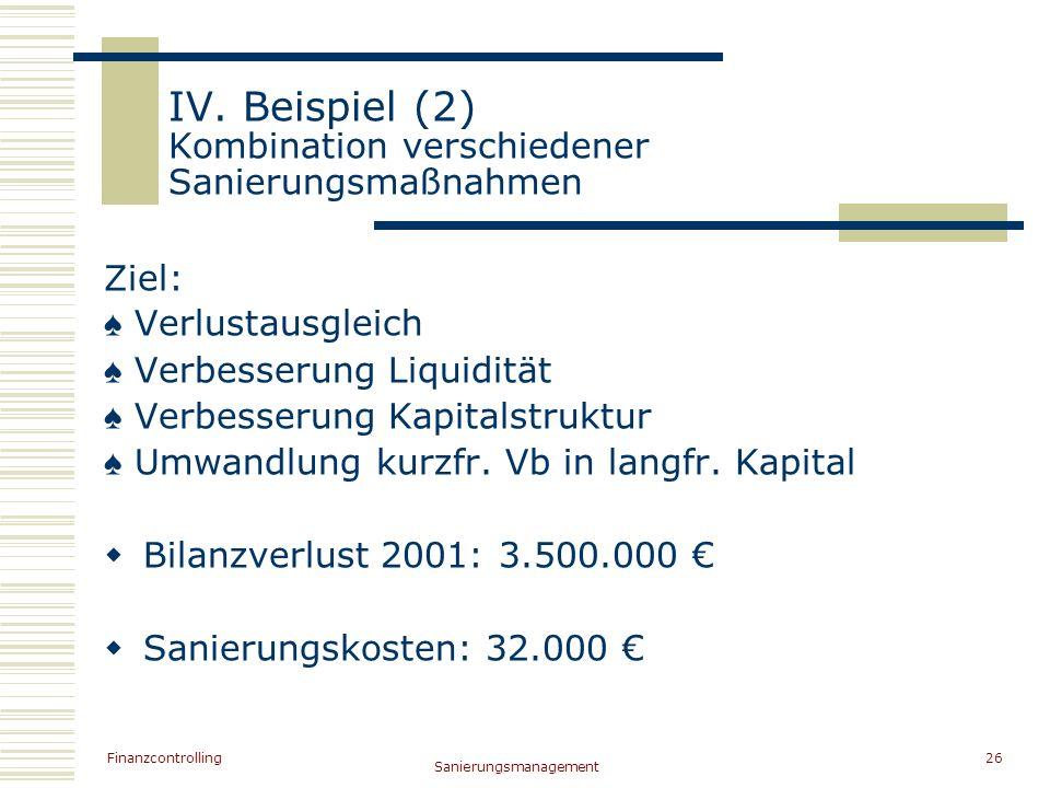 Finanzcontrolling Sanierungsmanagement 26 IV. Beispiel (2) Kombination verschiedener Sanierungsmaßnahmen Ziel: Verlustausgleich Verbesserung Liquiditä
