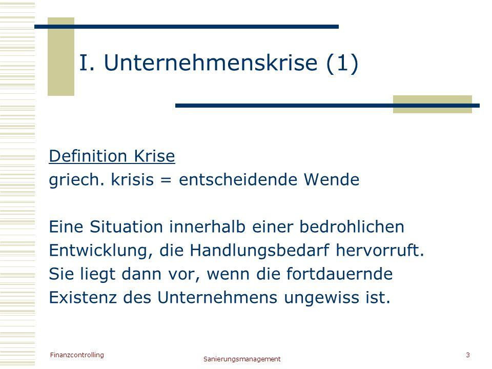 Finanzcontrolling Sanierungsmanagement 3 I. Unternehmenskrise (1) Definition Krise griech. krisis = entscheidende Wende Eine Situation innerhalb einer