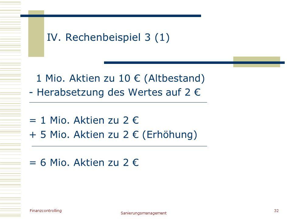 Finanzcontrolling Sanierungsmanagement 32 IV. Rechenbeispiel 3 (1) 1 Mio. Aktien zu 10 (Altbestand) - Herabsetzung des Wertes auf 2 = 1 Mio. Aktien zu