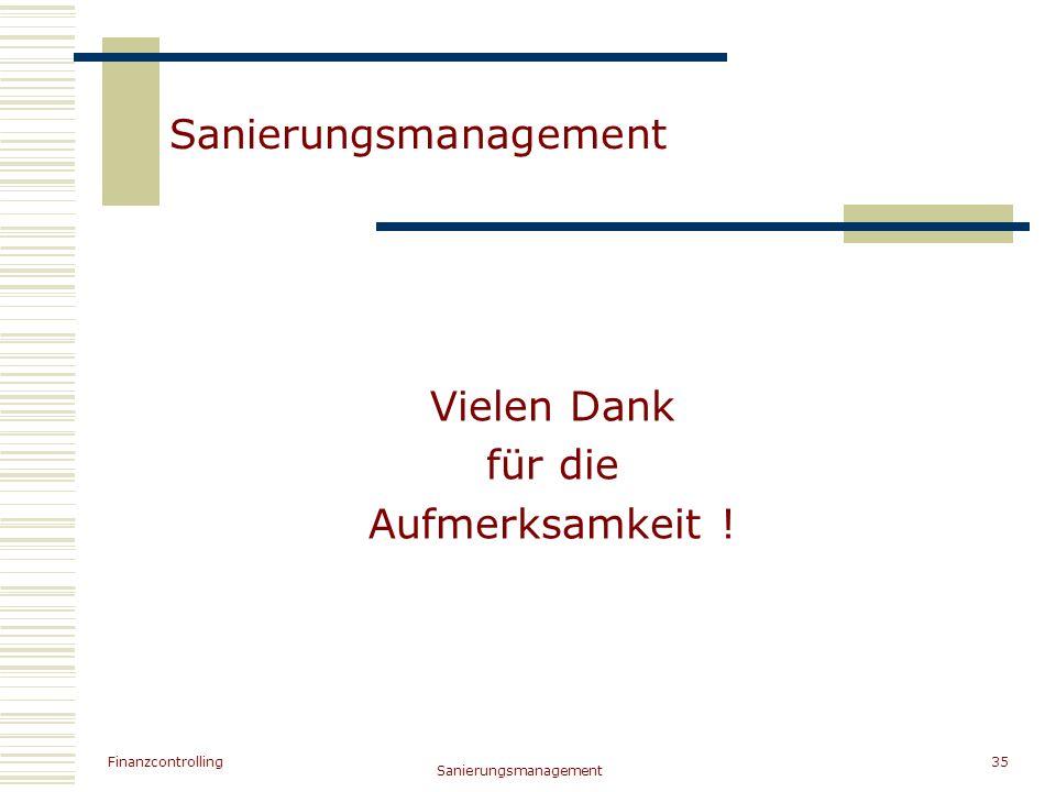 Finanzcontrolling Sanierungsmanagement 35 Sanierungsmanagement Vielen Dank für die Aufmerksamkeit !