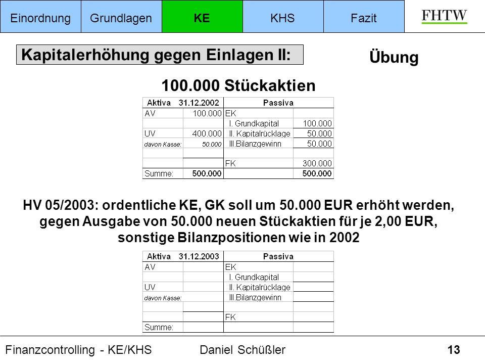 Finanzcontrolling - KE/KHSDaniel Schüßler13 Kapitalerhöhung gegen Einlagen II: EinordnungGrundlagenKEKHSFazit Übung 100.000 Stückaktien HV 05/2003: or