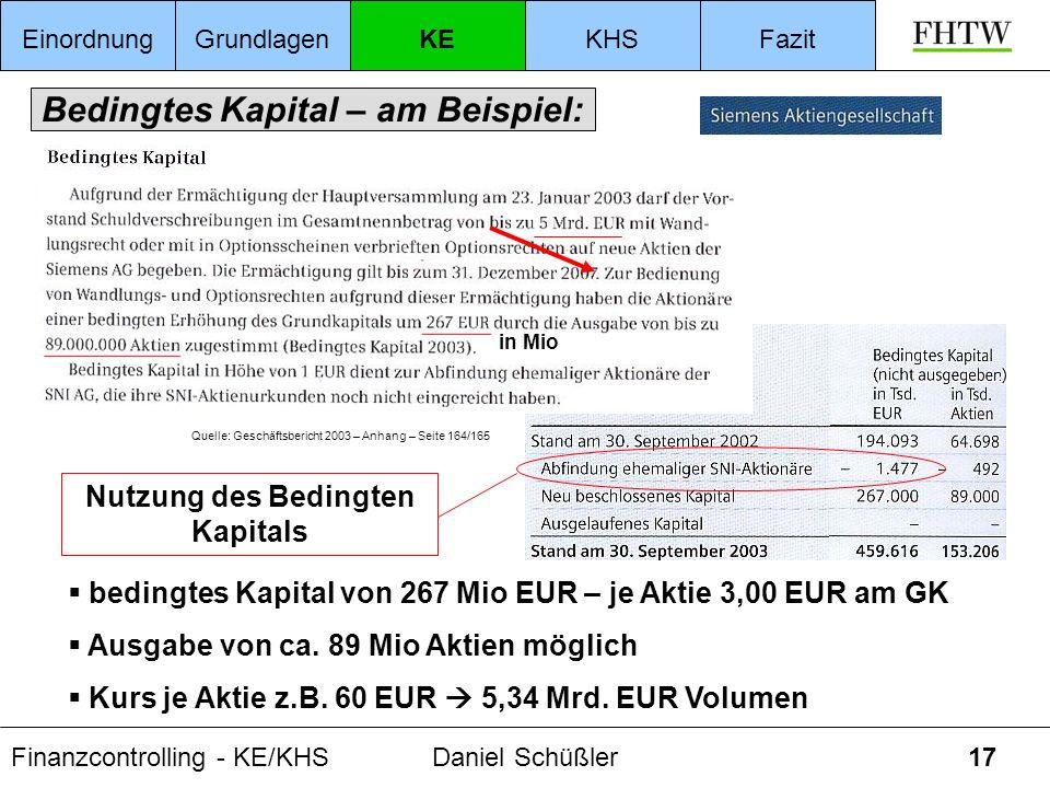 Finanzcontrolling - KE/KHSDaniel Schüßler17 Bedingtes Kapital – am Beispiel: Quelle: Geschäftsbericht 2003 – Anhang – Seite 164/165 bedingtes Kapital