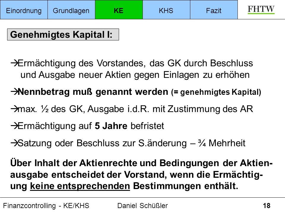 Finanzcontrolling - KE/KHSDaniel Schüßler18 Genehmigtes Kapital I: Ermächtigung des Vorstandes, das GK durch Beschluss und Ausgabe neuer Aktien gegen