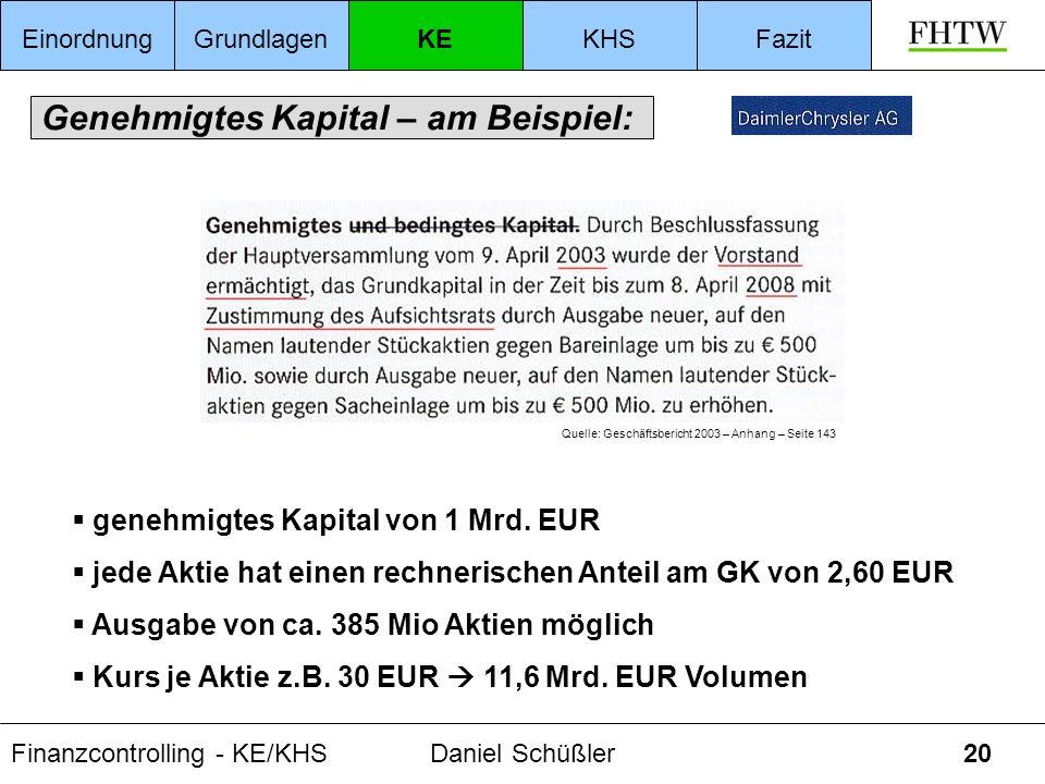 Finanzcontrolling - KE/KHSDaniel Schüßler20 Genehmigtes Kapital – am Beispiel: Quelle: Geschäftsbericht 2003 – Anhang – Seite 143 genehmigtes Kapital