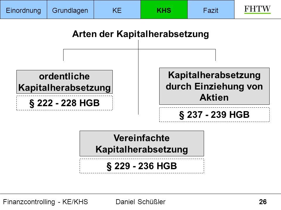 Finanzcontrolling - KE/KHSDaniel Schüßler26 ordentliche Kapitalherabsetzung § 222 - 228 HGB Arten der Kapitalherabsetzung Vereinfachte Kapitalherabset