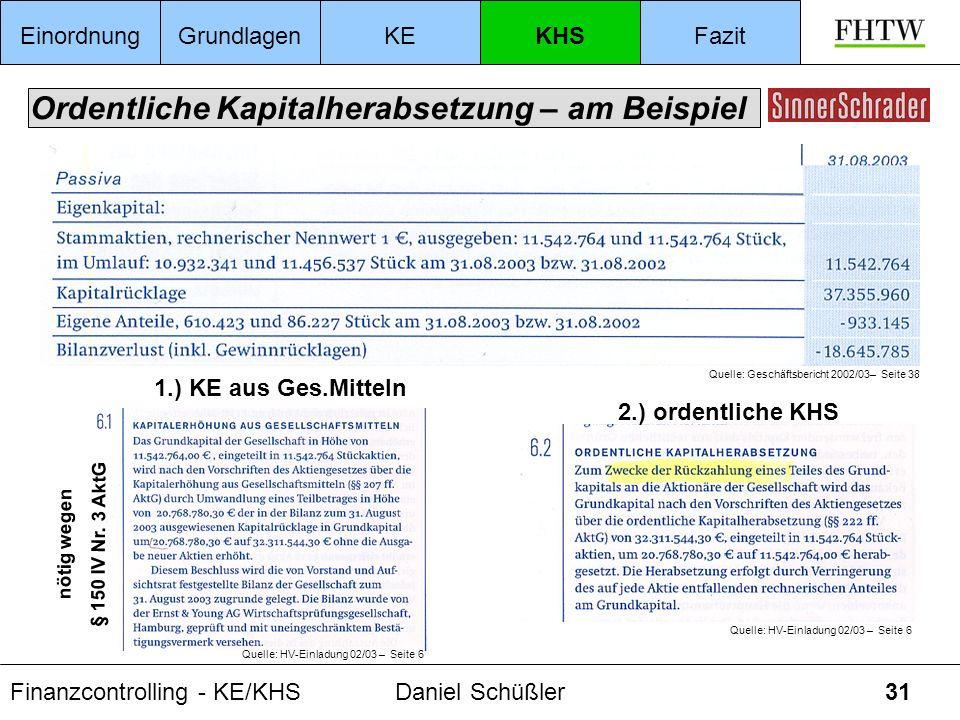 Finanzcontrolling - KE/KHSDaniel Schüßler31 Ordentliche Kapitalherabsetzung – am Beispiel EinordnungGrundlagenKEKHSFazit Quelle: Geschäftsbericht 2002