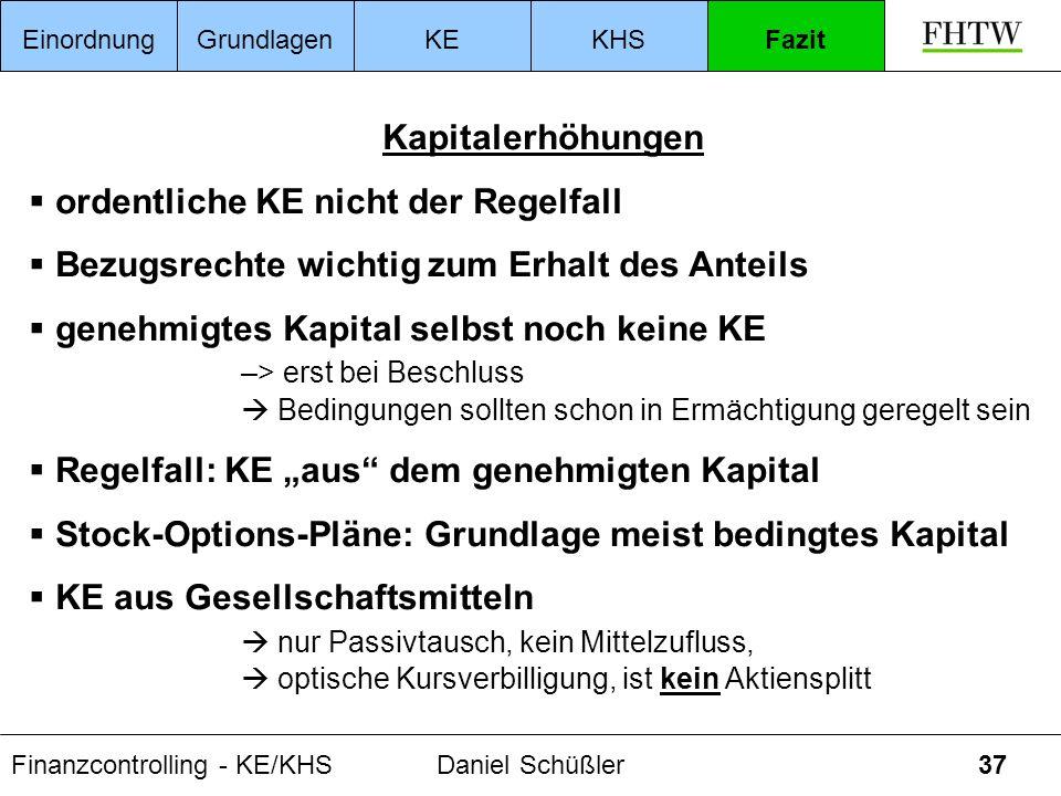 Finanzcontrolling - KE/KHSDaniel Schüßler37 Kapitalerhöhungen ordentliche KE nicht der Regelfall Bezugsrechte wichtig zum Erhalt des Anteils genehmigt