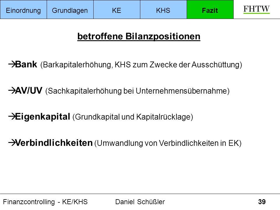 Finanzcontrolling - KE/KHSDaniel Schüßler39 betroffene Bilanzpositionen Bank (Barkapitalerhöhung, KHS zum Zwecke der Ausschüttung) AV/UV (Sachkapitale