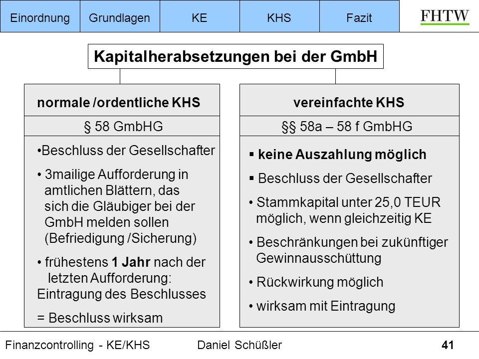 Finanzcontrolling - KE/KHSDaniel Schüßler41 EinordnungGrundlagenKEKHSFazit normale /ordentliche KHS § 58 GmbHG Beschluss der Gesellschafter 3mailige A
