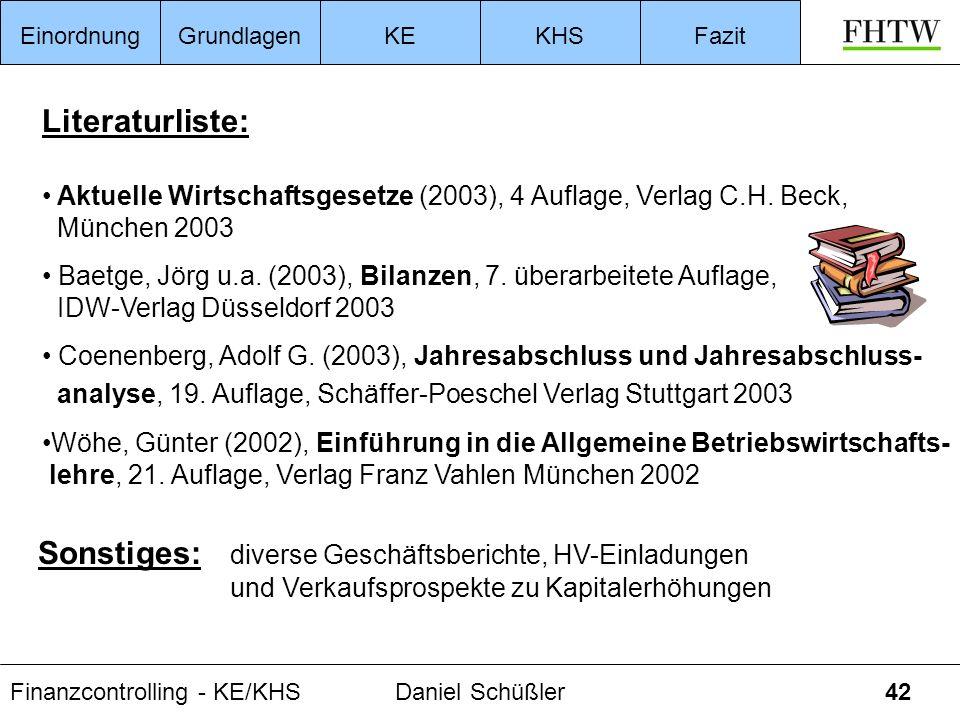 Finanzcontrolling - KE/KHSDaniel Schüßler42 Literaturliste: Aktuelle Wirtschaftsgesetze (2003), 4 Auflage, Verlag C.H. Beck, München 2003 Baetge, Jörg