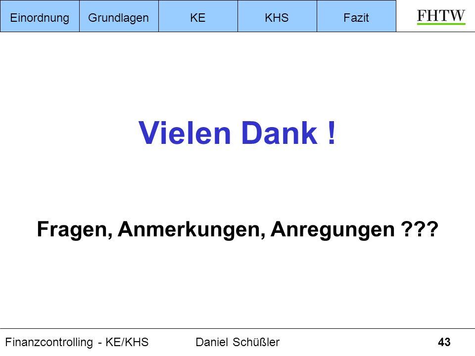 Finanzcontrolling - KE/KHSDaniel Schüßler43 EinordnungGrundlagenKEKHSFazit Vielen Dank ! Fragen, Anmerkungen, Anregungen ???