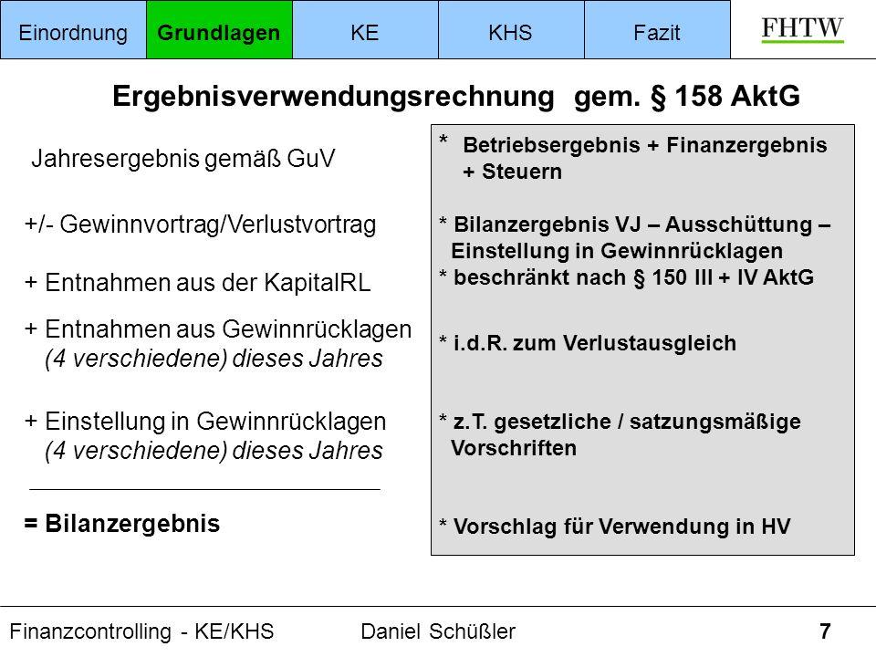 Finanzcontrolling - KE/KHSDaniel Schüßler7 Ergebnisverwendungsrechnung gem. § 158 AktG EinordnungGrundlagenKEKHSFazit Jahresergebnis gemäß GuV + Entna