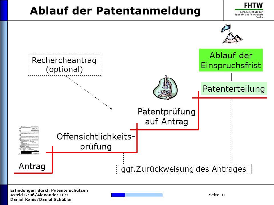 Erfindungen durch Patente schützen Astrid Gruß/Alexander Hirt Daniel Kanis/Daniel Schüßler Seite 11 Ablauf der Patentanmeldung Antrag Offensichtlichke
