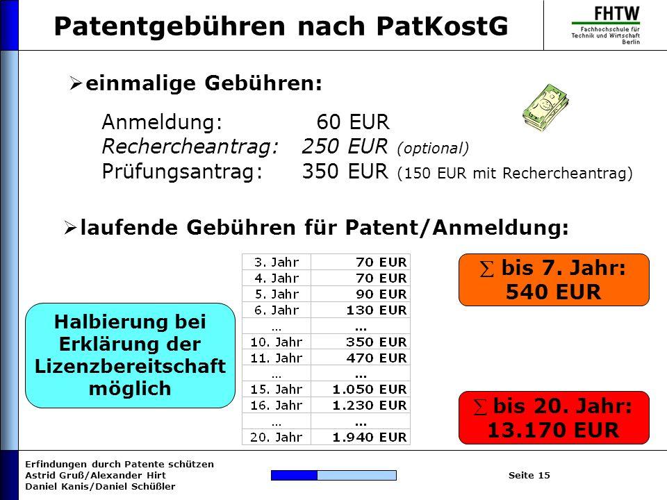 Erfindungen durch Patente schützen Astrid Gruß/Alexander Hirt Daniel Kanis/Daniel Schüßler Seite 15 Patentgebühren nach PatKostG einmalige Gebühren: A