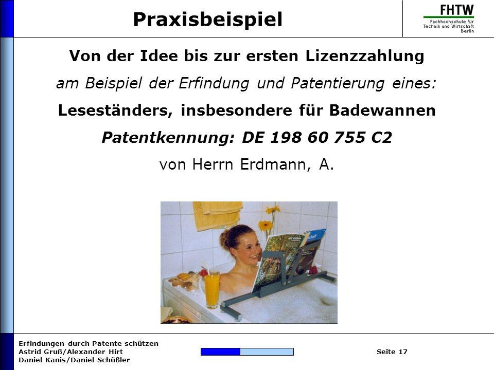 Erfindungen durch Patente schützen Astrid Gruß/Alexander Hirt Daniel Kanis/Daniel Schüßler Seite 17 Praxisbeispiel Von der Idee bis zur ersten Lizenzz