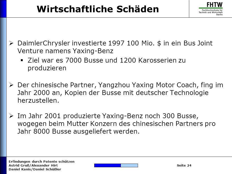 Erfindungen durch Patente schützen Astrid Gruß/Alexander Hirt Daniel Kanis/Daniel Schüßler Seite 24 Wirtschaftliche Schäden DaimlerChrysler investiert