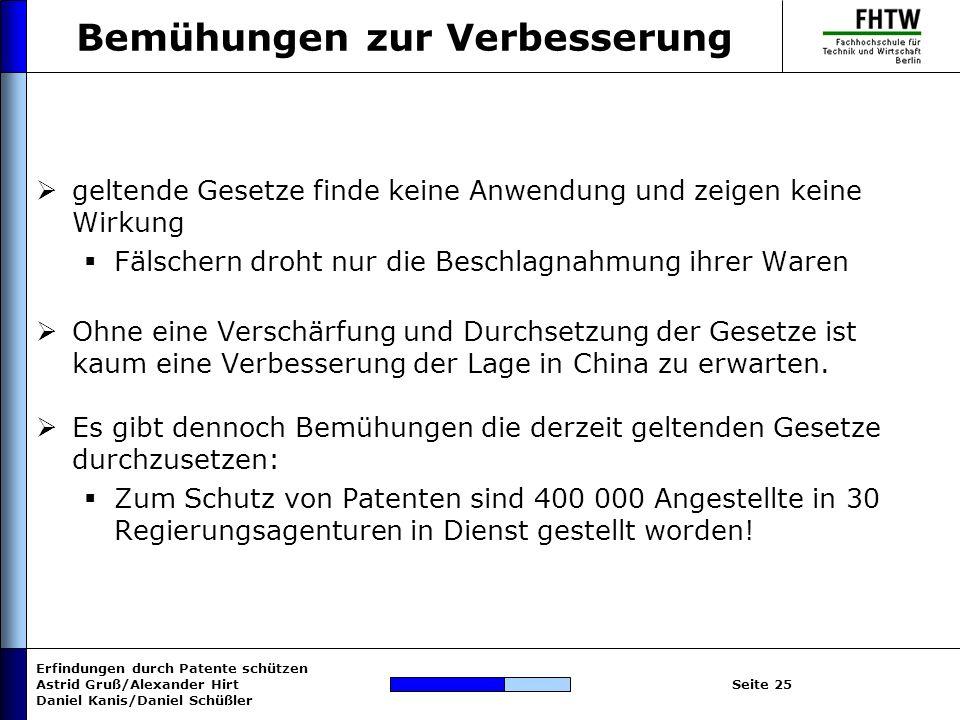 Erfindungen durch Patente schützen Astrid Gruß/Alexander Hirt Daniel Kanis/Daniel Schüßler Seite 25 Bemühungen zur Verbesserung geltende Gesetze finde
