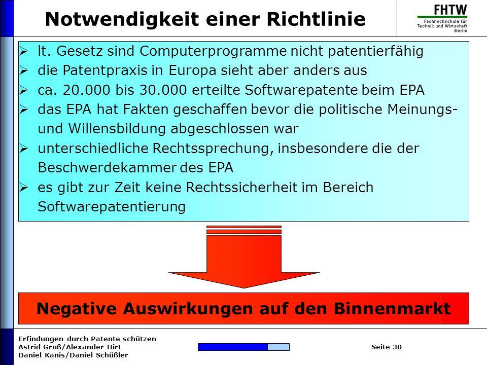 Erfindungen durch Patente schützen Astrid Gruß/Alexander Hirt Daniel Kanis/Daniel Schüßler Seite 30 Notwendigkeit einer Richtlinie Negative Auswirkung
