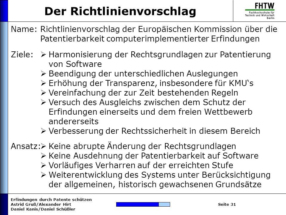 Erfindungen durch Patente schützen Astrid Gruß/Alexander Hirt Daniel Kanis/Daniel Schüßler Seite 31 Der Richtlinienvorschlag Name: Ziele: Richtlinienv