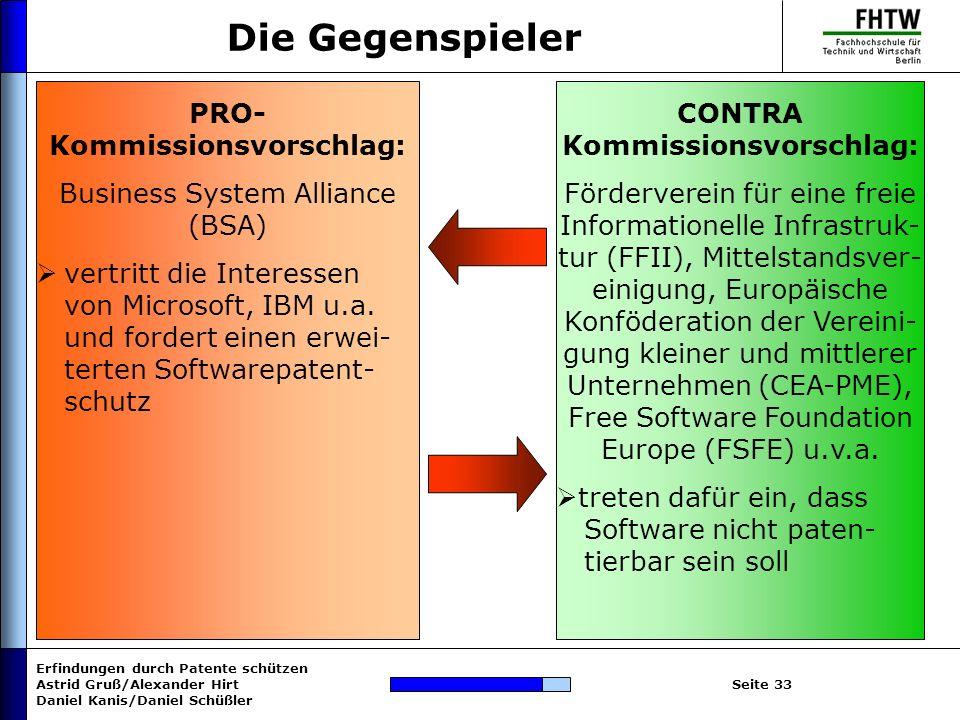 Erfindungen durch Patente schützen Astrid Gruß/Alexander Hirt Daniel Kanis/Daniel Schüßler Seite 33 Die Gegenspieler PRO- Kommissionsvorschlag: Busine