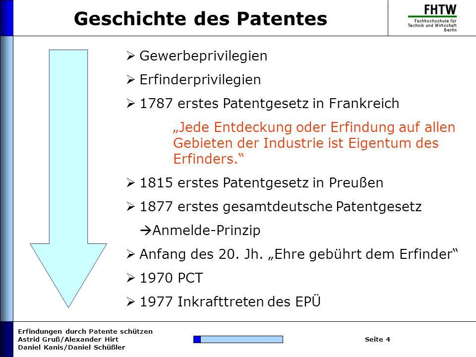 Erfindungen durch Patente schützen Astrid Gruß/Alexander Hirt Daniel Kanis/Daniel Schüßler Seite 15 Patentgebühren nach PatKostG einmalige Gebühren: Anmeldung: 60 EUR Rechercheantrag:250 EUR (optional) Prüfungsantrag:350 EUR (150 EUR mit Rechercheantrag) laufende Gebühren für Patent/Anmeldung: bis 7.