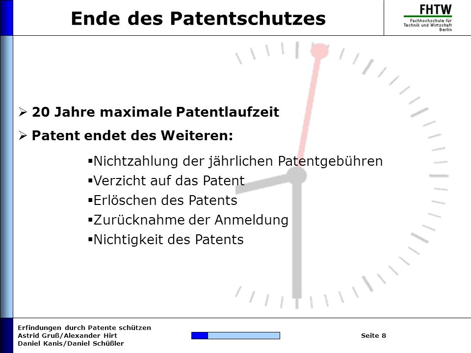 Erfindungen durch Patente schützen Astrid Gruß/Alexander Hirt Daniel Kanis/Daniel Schüßler Seite 8 Ende des Patentschutzes 20 Jahre maximale Patentlau