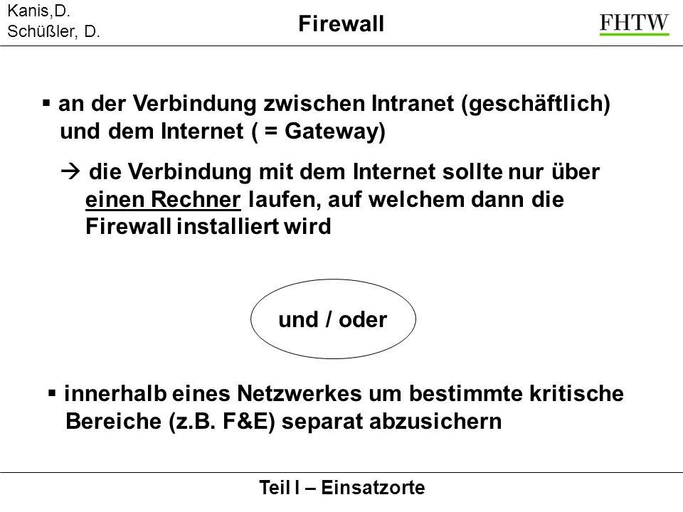 Kanis,D. Schüßler, D. Teil I – Einsatzorte Firewall an der Verbindung zwischen Intranet (geschäftlich) und dem Internet ( = Gateway) die Verbindung mi