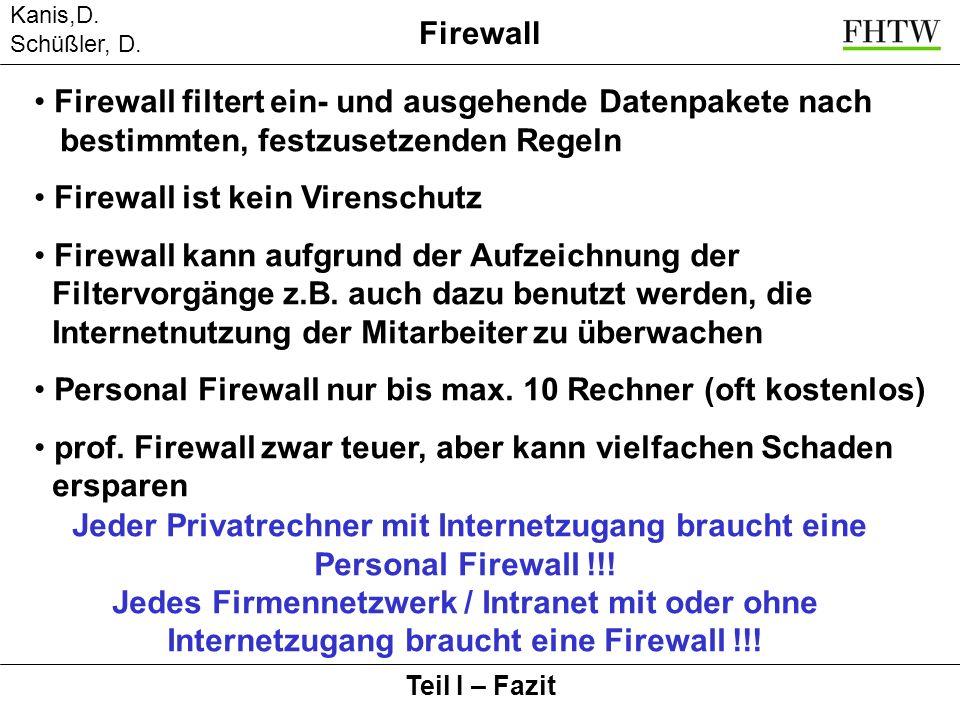 Kanis,D. Schüßler, D. Firewall Teil I – Fazit Firewall filtert ein- und ausgehende Datenpakete nach bestimmten, festzusetzenden Regeln Firewall ist ke
