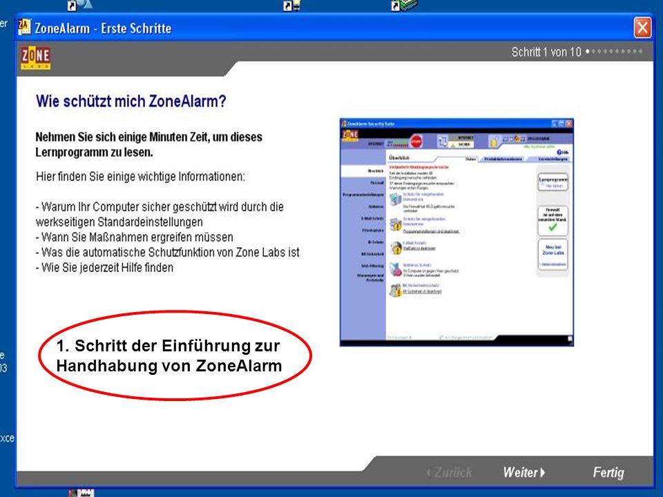 1. Schritt der Einführung zur Handhabung von ZoneAlarm