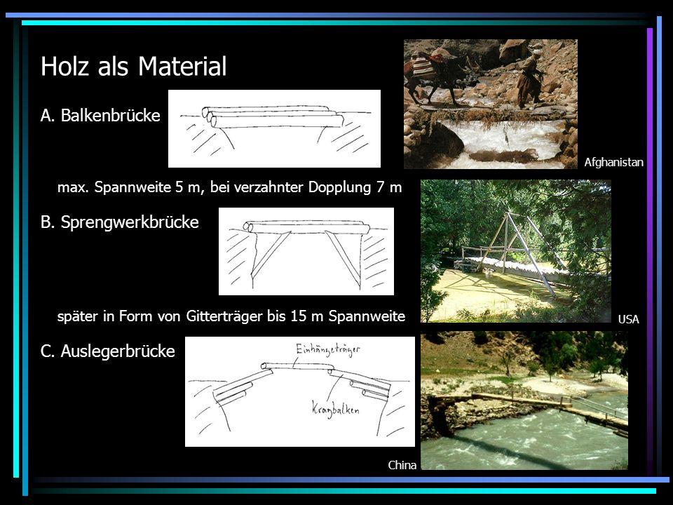 Holz als Material A. Balkenbrücke B. Sprengwerkbrücke C. Auslegerbrücke max. Spannweite 5 m, bei verzahnter Dopplung 7 m später in Form von Gitterträg