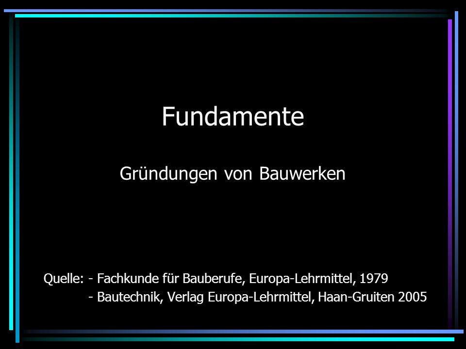 Fundamente Gründungen von Bauwerken Quelle: - Fachkunde für Bauberufe, Europa-Lehrmittel, 1979 - Bautechnik, Verlag Europa-Lehrmittel, Haan-Gruiten 20
