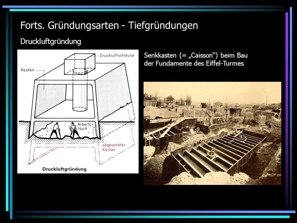 Caisson-Gründung der Pfeiler der Rheinbrücke Kehl Durch unter dem Wasserspiegel endende Förderröhren konnte der Aushub kontinuierlich unter Umgehung der Druckschleusen nach außen geschafft werden.