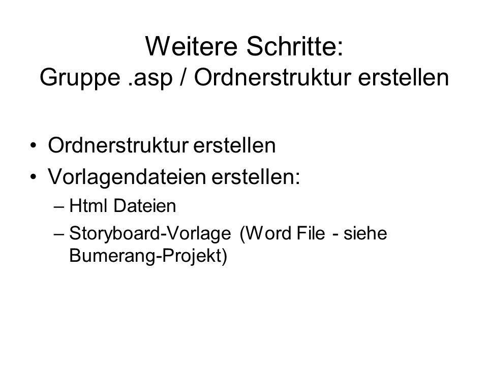 Weitere Schritte: Gruppe.asp / Ordnerstruktur erstellen Ordnerstruktur erstellen Vorlagendateien erstellen: –Html Dateien –Storyboard-Vorlage (Word Fi