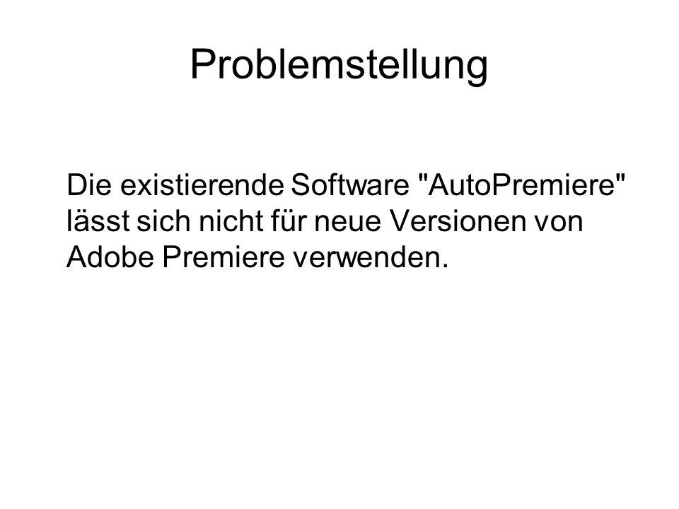 Problemstellung Die existierende Software