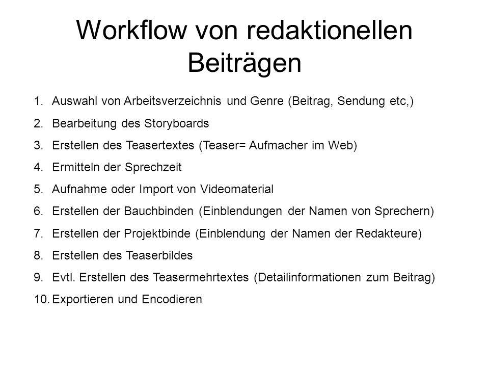Workflow von redaktionellen Beiträgen 1.Auswahl von Arbeitsverzeichnis und Genre (Beitrag, Sendung etc,) 2.Bearbeitung des Storyboards 3.Erstellen des