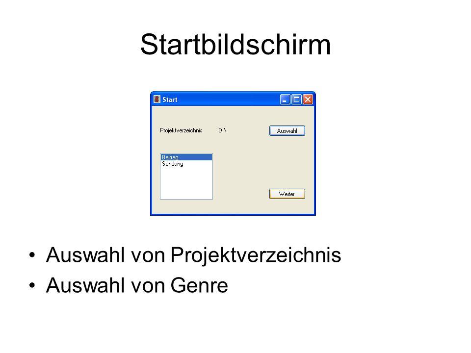 Startbildschirm Auswahl von Projektverzeichnis Auswahl von Genre bild