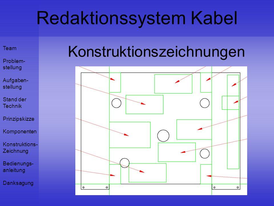 Team Problem- stellung Aufgaben- stellung Stand der Technik Prinzipskizze Komponenten Konstruktions- Zeichnung Bedienungs- anleitung Danksagung Redaktionssystem Kabel Konstruktionszeichnungen