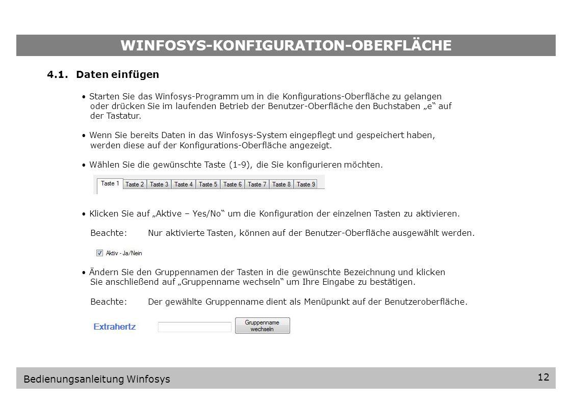 WINFOSYS-KONFIGURATIONS-OBERFLÄCHE 11 Bedienungsanleitung Winfosys 4.Winfosys-Konfigurations-Oberfläche