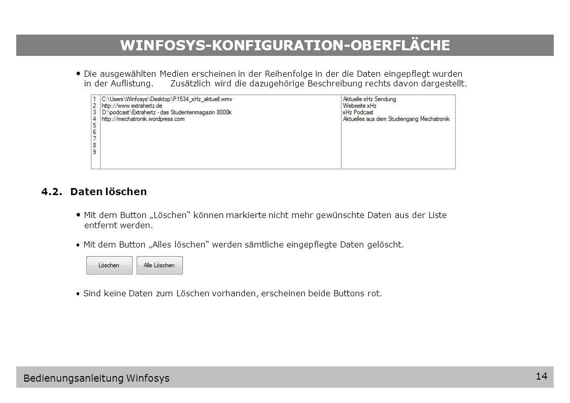 WINFOSYS-KONFIGURATION-OBERFLÄCHE Klicken Sie auf die folgenden Buttons um die gewünschte Daten einzupflegen: einbinden von Video-Dateien (nur.wmv Videos möglich) einbinden von Webseiten einbinden eines Ordners mit Videos (nur.wmv Videos möglich) einbinden einer Präsentation (nur.pps und.ppsx Dateien möglich) Beachte:Überprüfen Sie Ihre Beiträge auf Vollständigkeit bevor Sie diese einbinden.