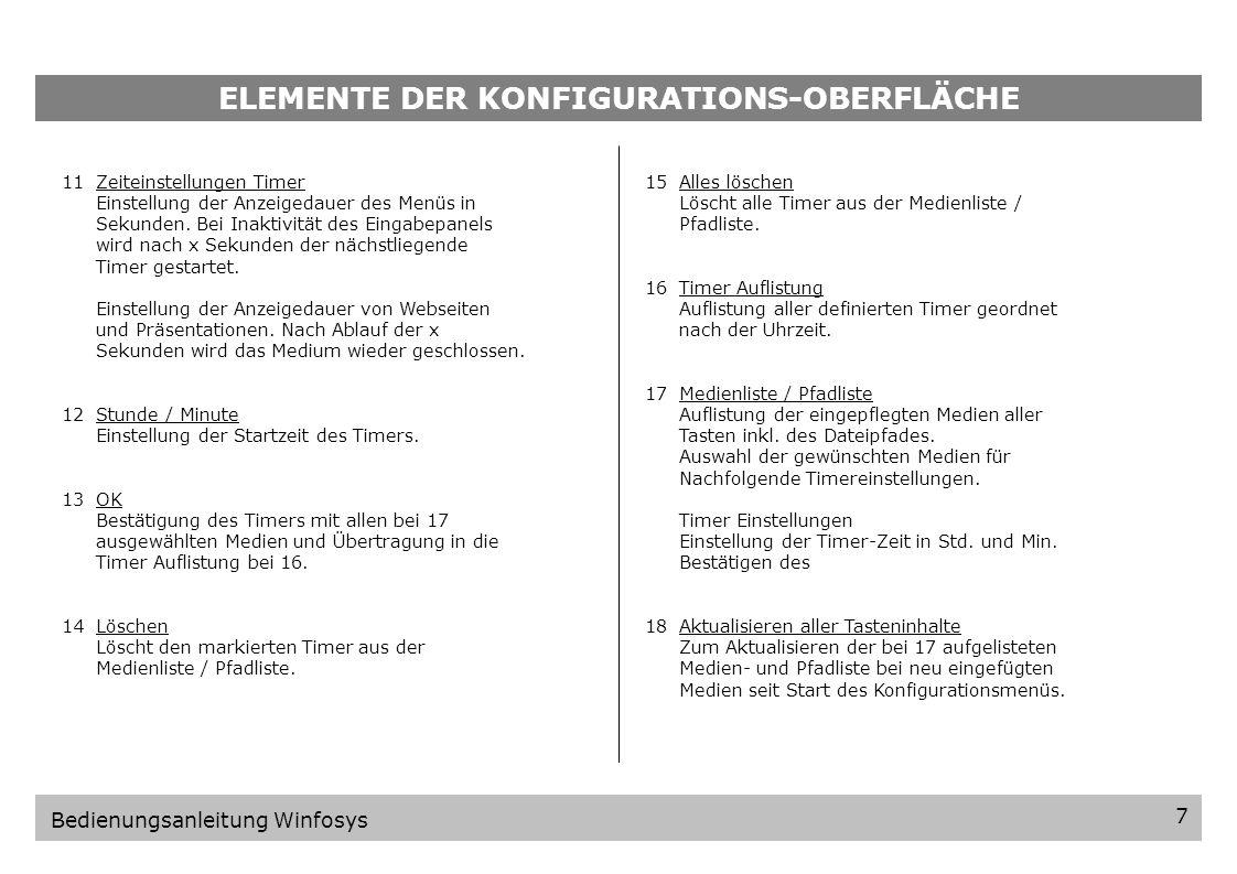 ELEMENTE DER KONFIGURATIONS-OBERFLÄCHE 1234512345 Taste 1-9 Wählt die zu konfigurierende Taste aus.
